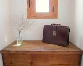 vintage briefcase brown leather portfolio shabby chic retro mad men 1950s 1960s