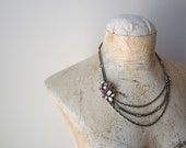 VINTAGE Rhinestone necklace pink, fuchsia, crystal diamond on triple strand metal chain