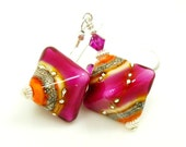 Lampwork Earrings Hot Pink Orange White Sterling Earrings