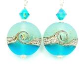 Teal Aqua Blue Earrings, Lampwork Earrings, Ocean Earrings, Beach Earrings, Glass Earrings, Wave Earrings, Beadwork Earrings, Beach Jewelry