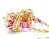 Pink Earrings, Lampwork Earrings, Pink Glass Earrings. Glass Bead Earrings, 14K Gold Filled Earrings, Beadwork Earrings