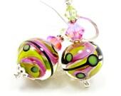 Pink Lime Earrings, Lampwork Earrings, Glass Earrings, Glass Bead Earrings, Abstract Earrings, Beadwork Earrings