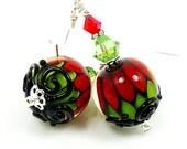 Red Green Black Earrings, Christmas Earrings, Lampwork Earrings, Glass Earrings, Glass Bead Earrings