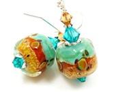 Teal Blue Brown Earrings, Teal Lampwork Earrings, Teal Boro Earrings, Teal Glass Bead Earrings