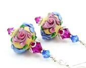 Floral Lampwork Earrings, Floral Glass Earrings, Pink Blue Flower Glass Sterling Earrings