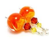 Orange Yellow Earrings, Lampwork Earrings, Orange Yellow Glass Earrings, Glass Bead Earrings
