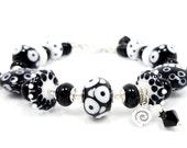 Abstract Bracelet, Lampwork Bracelet, Glass Bead Bracelet, Black White Glass Bracelet, Black White Abstract Bracelet, Beaded Bracelet