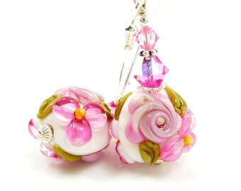 Pink Floral Earrings, Lampwork Earrings, Glass Earrings, Glass Bead Earrings, Beadwork Earrings, Lampwork Jewelry, Artisan Earrings