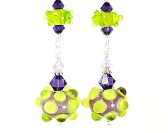Purple & Lime Green Earrings, Lampwork Earrings, Glass Earrings, Drop Earrings, Dangle Earrings, Beadwork Earrings, Bumpy Bead Earrings