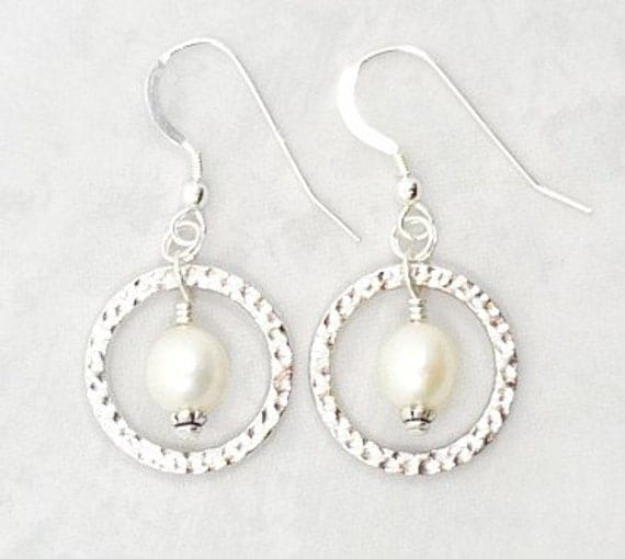 Freshwater Pearl Earrings, Pearl Drop Earrings, Hoop Pearl Earrings, Pearl Earrings
