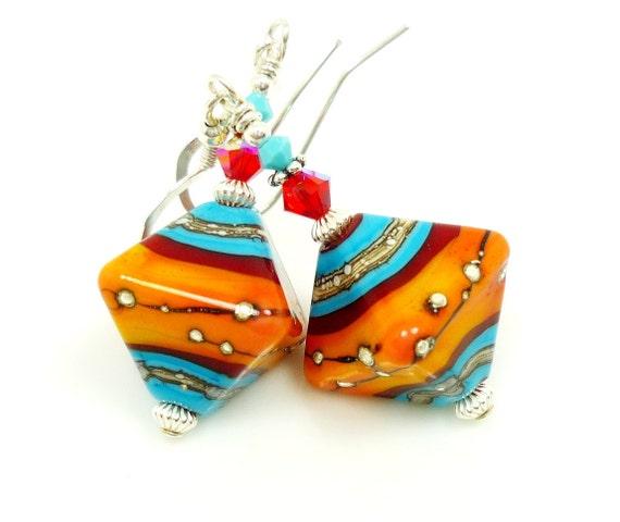 Turquoise Blue Red Orange Earrings, Lampwork Earrings, Glass Earrings, Glass Bead Earrings, Southwestern Earrings, Beadwork Earrings