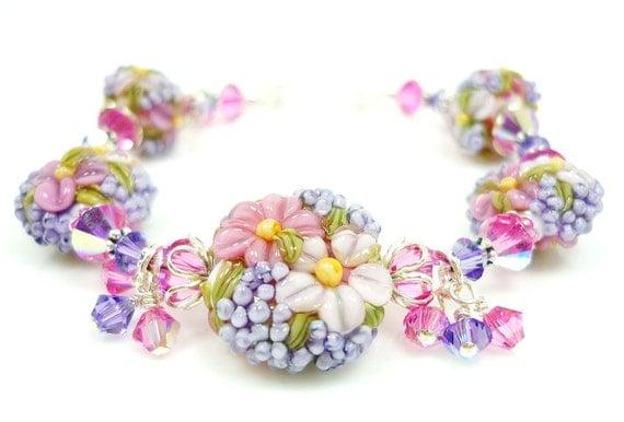 Floral Lampwork Bracelet, Glass Flower Bracelet, Glass Bead Bracelet, Pink Violet Floral Bracelet, Beaded Bracelet, Beadwork Bracelet