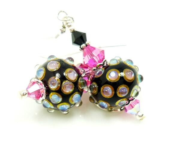 Lampwork Earrings, Bumpy Glass Earrings, Black Pink Earrings, Glass Bead Earrings, Glass Earrings, Beadwork Earrings