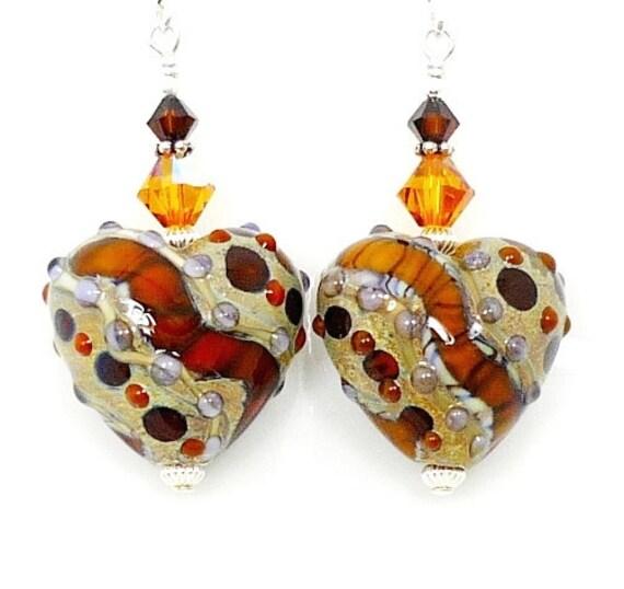 Heart Earrings, Heart Lampwork Earrings, Glass Heart Earrings, Amber Brown Earrings, Animal Print Earrings