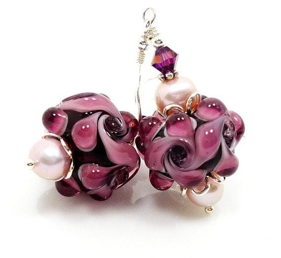 Purple Earrings, Lampwork Earrings, Glass Earrings, Pearl Earrings, Purple Floral Earrings, Beadwork Earrings