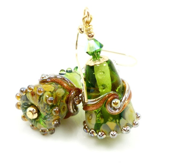 Green Earrings, Lampwork Earrings, Green Glass Earrings, Lampwork Cone Earrings, 14K Gold Filled Earrings, Glass Bead Earrings