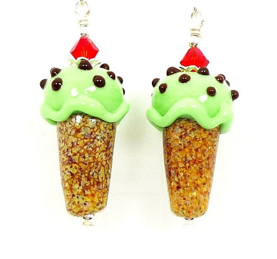 Ice Cream Cone Earrings, Ice Cream Lampwork Earrings, Glass Ice Cream Earrings, Beaded Earrings, Beadwork Earrings