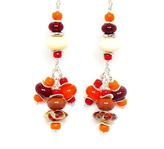 Lampwork Earrings, Glass Bead Earrings, Red Orange Ivory Earrings, Chandelier Earrings, Beaded Earrings, Dangle Earrings, Beadwork Earrings