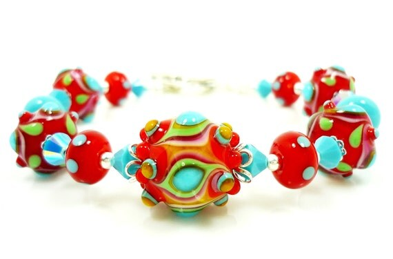 Lampwork Bracelet, Glass Bead Bracelet, Turquoise Blue Red Bracelet, Southwestern Bracelet, Beaded Bracelet, Beadwork Bracelet