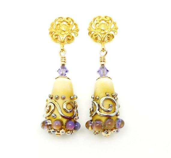 Lampwork Earrings, Glass Earrings, Violet Purple Glass Earrings, 14K Gold Filled Earrings, 24K Gold Vermeil Filigree Floral Earrings