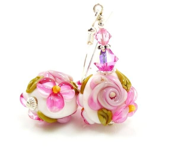 Pink Floral Earrings, Lampwork Earrings, Glass Earrings, Glass Bead Earrings, Beadwork Earrings, Lampwork Jewelry, Artisan Earrings