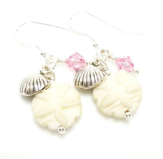 Seashell Earrings, Sand Dollar Earrings, Lampwork Earrings, Ocean Earrings, Beach Earrings, Beach Jewelry, Dangle Earrings, Glass Earrings