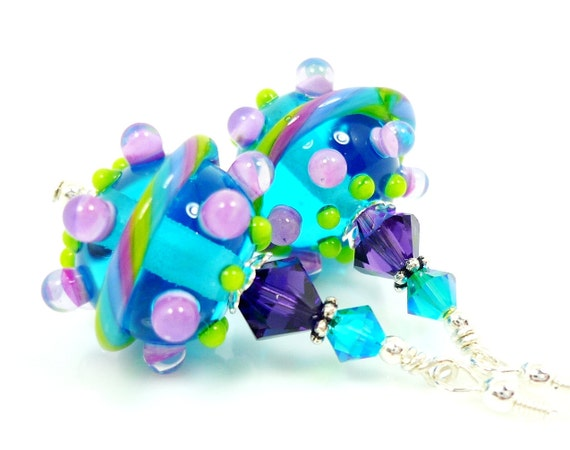 Blue Lampwork Earrings, Blue Glass Earrings, Blue Purple Lampwork Earrings, Glass Bead Earrings