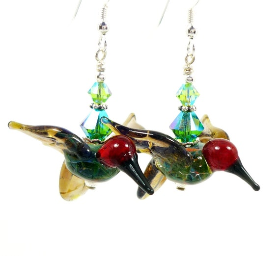 Hummingbird Earrings, Hummingbird Lampwork Earrings, Blue Green Red Bird Earrings, Glass Hummingbird Earrings