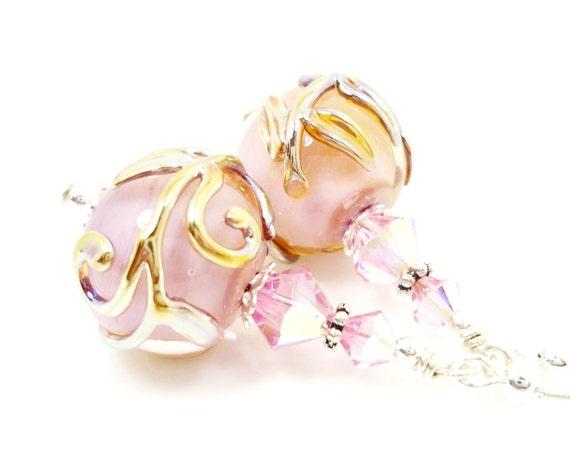 Pink Earrings, Pink Lampwork Earrings, Pink Glass Earrings, Pink Glass Bead Earrings, Pink Scroll Earrings, Beadwork Earrings