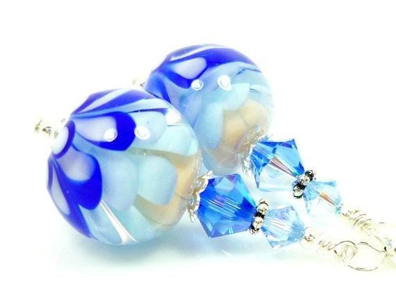 Blue White Earrings, Lampwork Earrings, Glass Earrings, Glass Bead Earrings, Blue Flower Earrings, Beadwork Earrings