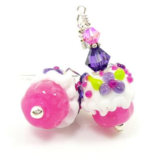 Floral Cupcake Earrings, Cupcake Lampwork Earrings, Pink Purple Cupcake Earrings, Glass Cupcake Earrings, Glass Flower Earrings
