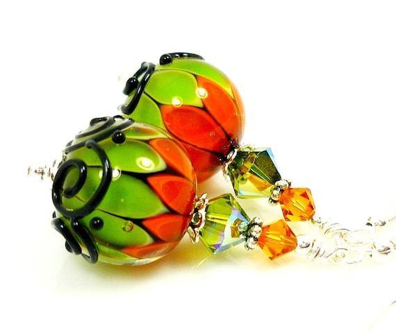 Lampwork Earrings, Glass Earrings, Orange Green Earrings, Halloween Earrings, Glass Bead Earrings, Beadwork Earrings