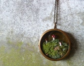 Moss Terrarium Miniature Mushroom Woodland Locket Necklace. The Phineas Alazar Grubb Saga Continues