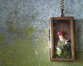 Terrarium Moss Mushroom Locket  Necklace. Woodland Jewelry