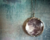 See You on the Dark Side of the Moon Necklace. Oxidized Sterling Silver Chain. Full Moon Jewelry