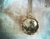 Full Moon Necklace. Sterling Silver Chain. Phases of the Moon. Double Sided. Moon Jewelry. Large Pendant