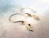 Sterling Silver Leaf Earrings  Botanical Petite Sterling Silver Jewelry