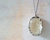 Lucy Steele's Secret Vintage Lace Necklace. Oval. Sterling Silver Chain. White Lace
