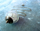 Herkimer Diamond Glass Globe Sterling Silver Necklace Complimentary Shipping Worldwide