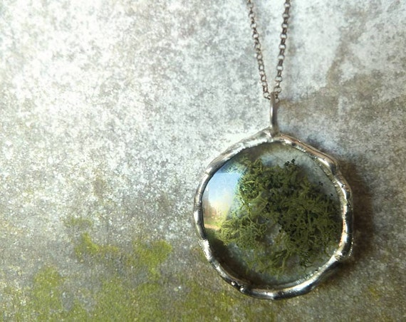 Green Moss Necklace. Swamp Monster. Sterling Silver Chain. Glass Lens. Botanical Jewelry