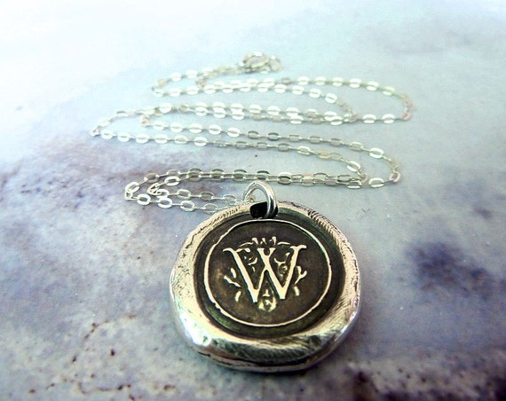 Initial Personalized Necklace. Wax Seal Monogram in Fine Silver Any Letter. Personalized Jewelry. Gift for Her