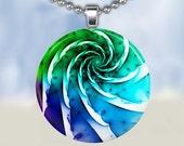 Color Spiral Necklace - Glass Tile Pendant (AC1C7)