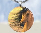 Windswept Horse Necklace - Glass Tile Pendant (WHCB6)