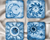 Blue Sun and Moon Magnet Set - Glass Squares (SMB)