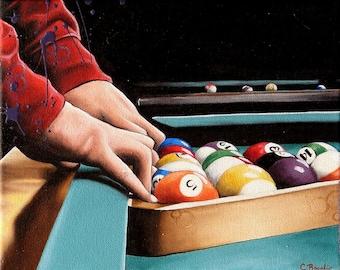 Pool Rack Bar Scene Oil Painting Reproduction 8x10 print