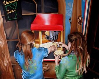 Popcorn Bar Scene Oil Painting Reproduction 8x10 print