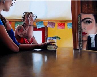 Frida's bar scene oil painting reproduction 8x10 print