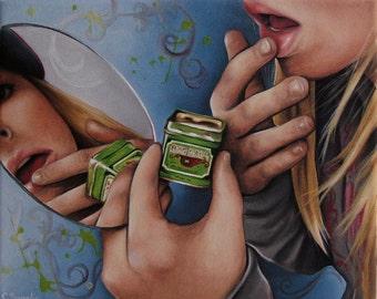 Green Vanity scene oil painting reproduction 8x10 print