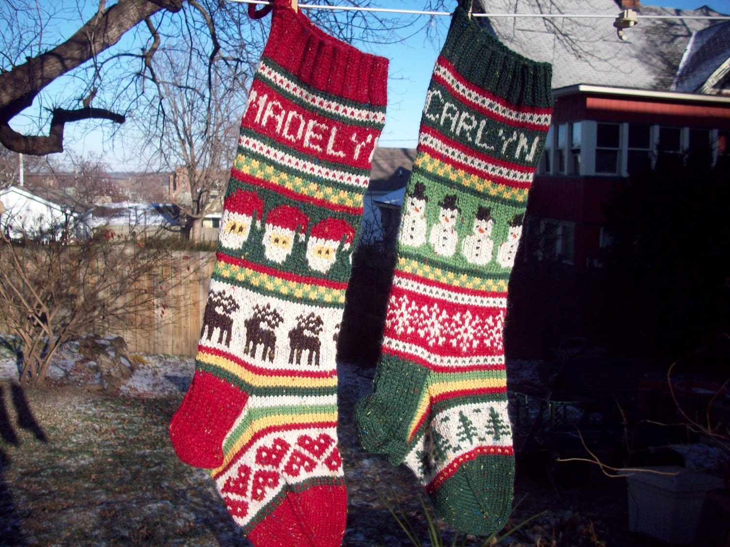 Personalized Hand Knitted Fair Isle Christmas Stocking for