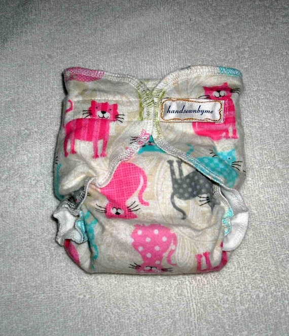 handsewnbyme 1 Fitted Cloth Diaper Approx. Newborn  -10 lbs Calico Kitty